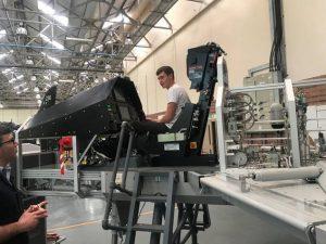 Aeronautical Engineering Student working RAF Hydraulic Systems Trainer